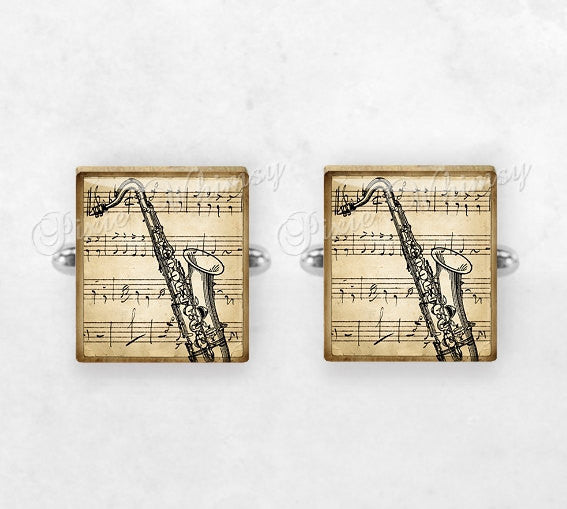 SAXOPHONE Scrabble Tile Cufflinks, Cuff Links, Musical Instrument, Saxophone Instrument, Mens Accessories, Gifts For Men, Music Lover