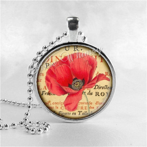 POPPY FLOWER Necklace, Poppies, Watercolor Flower Art, Flower Pendant, Flower Jewelry, Flower Charm, Glass Art Pendant Necklace, Red Poppies