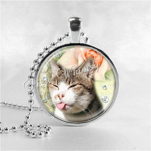 CRABBY CAT Necklace, Cat Pendant, Cat Jewelry, Cat Charm, Funny Cat Jewelry, Glass Photo Art Necklace Pendant, Cat Humor Jewelry