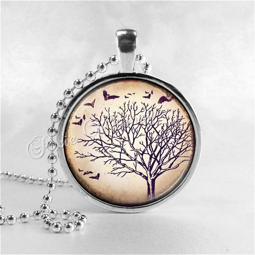 TREE Necklace, Tree Pendant, Tree Jewelry, Tree Charm, Photo Art Necklace, Nature Jewelry, Gothic Tree, Bats, Bat Necklace, Vintage Tree