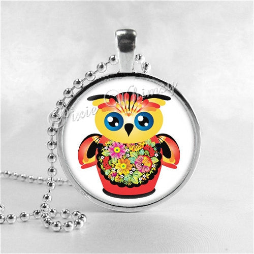 MATROYSHKA OWL Necklace, Bird Necklace, Owl Pendant, Owl Jewelry, Glass Art Pendant Charm, Russian Doll Jewelry