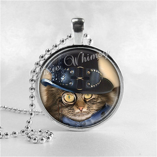 CAT Necklace, Steampunk Cat, Steam Punk Cat, Cat Necklace, Cat Pendant, Cat Jewelry, Glass Art Pendant Charm, Steampunk Jewelry, Gothic