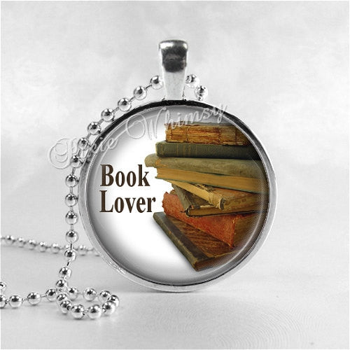 BOOK LOVER, Book Necklace, Book Jewelry, Glass Photo Art Necklace, Read, Book Lover Jewelry, Book Nerd, Antique Books, Librarian, Library