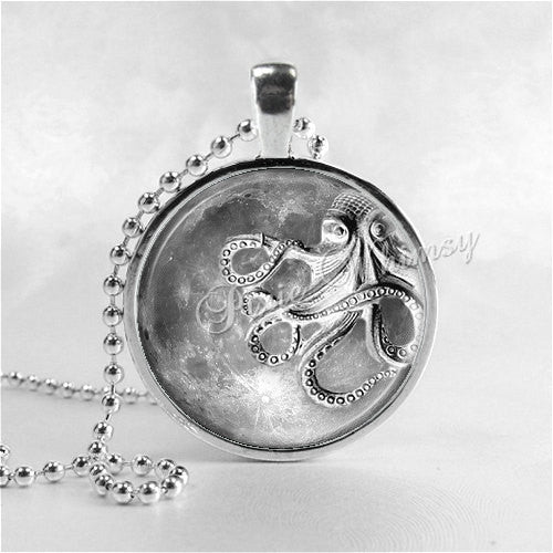 OCTOPUS In Space Necklace, Full Moon Necklace, Steam Punk Octopus Pendant, Octopus Jewelry, Blue Moon, Space, Galaxy, Glass Art Necklace