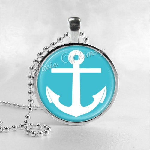 ANCHOR Pendant Necklace Nautical Jewelry Ship Boat Anchor Boat Boating Captain Aqua Blue, Gift for Boater Boat Owner