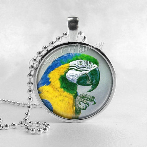 BLUE And GOLD MACAW Necklace, Macaw Jewelry, Parrot Jewelry, Parrot Necklace, Macaw Jewelry, Bird Necklace, Glass Photo Art Pendant Necklace