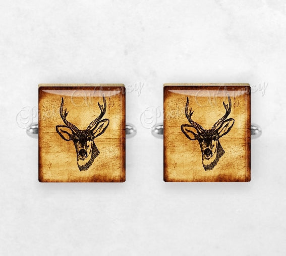 DEER Scrabble Tile Cufflinks, Deer Cuff Links, Wild Animal Cufflinks, Deer Head, Animal Cuff Links, Mens Accessories, Gifts For Men