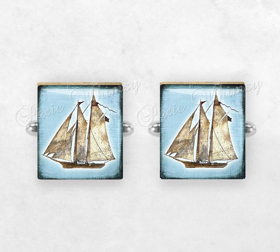 SAILBOAT Scrabble Tile Cufflinks, Cuff Links, Nautical Cufflinks, Yacht, Sailing, Boat, Ship, Mens Accessories, Gifts For Men
