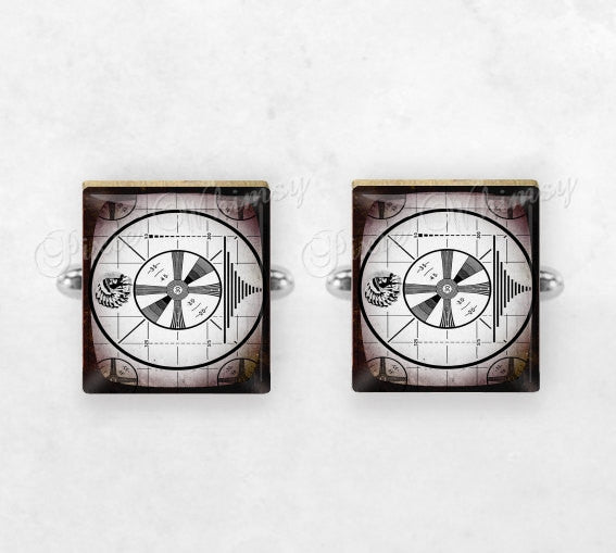 TV TEST PATTERN Scrabble Tile Cufflinks, Cuff Links, Television Cuff Links, Vintage Television, Mens Accessories, Gifts for Men