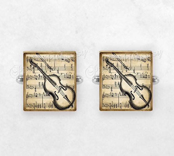 VIOLIN Scrabble Tile Cufflinks, Cuff Links, Musical Instrument, Classical Music, Orchestra, Mens Accessories, Gifts For Men, Music Lover