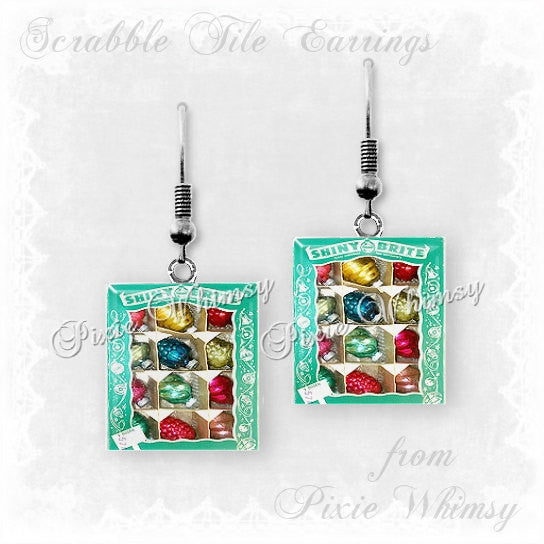 SHINY BRITE CHRISTMAS ORNAMENTS Scrabble Tile Earrings, Christmas Ornaments, Vintage Christmas Ornaments, Christmas Jewelry, Ornaments