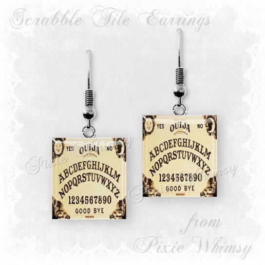 OUIJA BOARD Scrabble Tile Earrings, Ouija Jewelry, Vintage Ouija Board, Talking Board, Spirits, Ghosts, Witch, Occult, Metaphysicalrrings