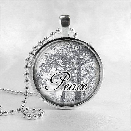 PEACE Inspirational Word Necklace, Tree Necklace, Tree, Inspirational Jewelry, Peace Pendant, Glass Photo Art Pendant Necklace