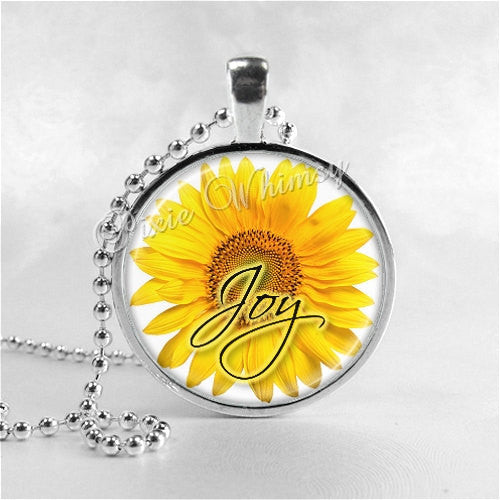 JOY Inspirational Word Necklace, Sunflower Necklace, Sunflower, Inspirational Jewelry, Joy Pendant, Glass Photo Art Pendant Necklace