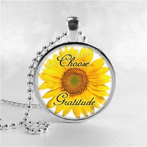 CHOOSE GRATITUDE Inspirational Word Necklace, Sunflower Necklace, Sunflower, Inspirational Jewelry, Glass Photo Art Pendant Necklace