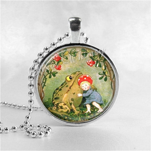 FROG Necklace, Girl and Frog, Glass Photo Art Necklace, Frog Pendant, Frog Jewelry