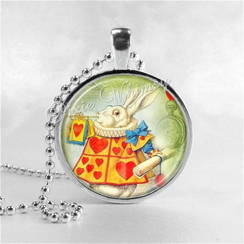 ALICE In WONDERLAND Necklace, White Rabbit, Art Glass Pendant Charm Jewelry, Rabbit Necklace,  Rabbit Jewelry
