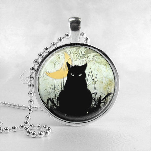 BLACK CAT Necklace, Crescent Moon, Cat Pendant, Cat Jewelry, Cat Charm, Glass Photo Art Necklace Pendant, Black Cat Jewelry, Halloween