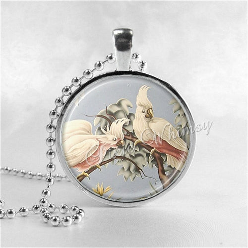 COCKATOO Necklace, Cockatoo Pendant, Cockatoo Jewelry, Cockatoo Charm, Pink Cockatoo, Exotic Bird, Bird Jewelry, Vintage Cockatoo