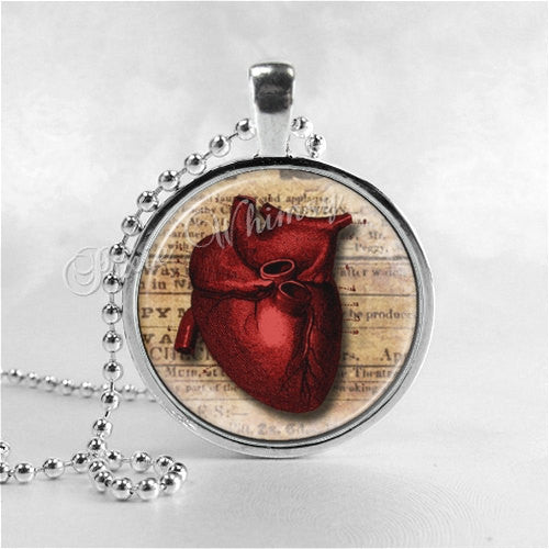 ANATOMICAL HEART Necklace, Human Heart, Anatomy Jewelry, Anatomical Jewelry, Science, Medical, Medicine, Doctor, Nurse, Glass Art Pendant