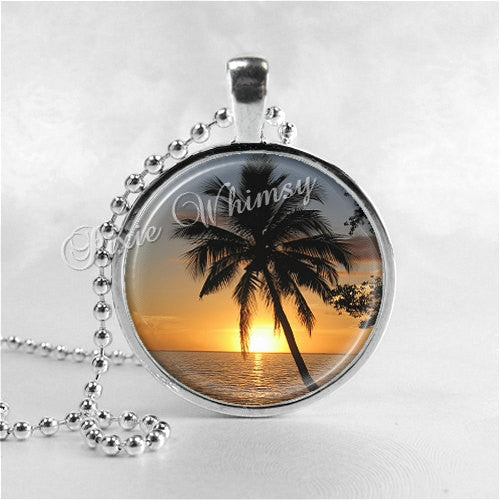 PALM TREE Necklace, Palm Tree Pendant, Tree Jewelry, Palm Tree, Glass Photo Art Necklace, Tropical, Beach, Vacation, Beach, Ocean, Sunset