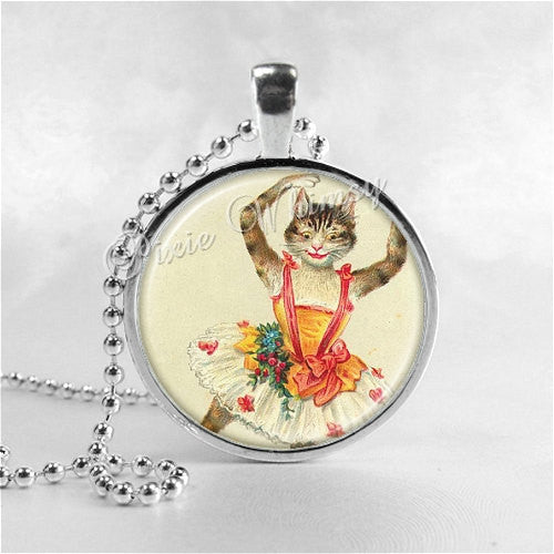 CAT BALLERINA Pendant Necklace Jewelry, Anthropomorphic Dancing Cat, Ballet Dancer Jewelry, Tutu, Photo Art Necklace