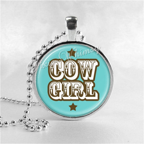 COWGIRL Necklace Pendant, Cowgirl Jewelry, Cowgirl Charm, Glass Photo Art Pendant Charm, Cowboy, Western Jewelry