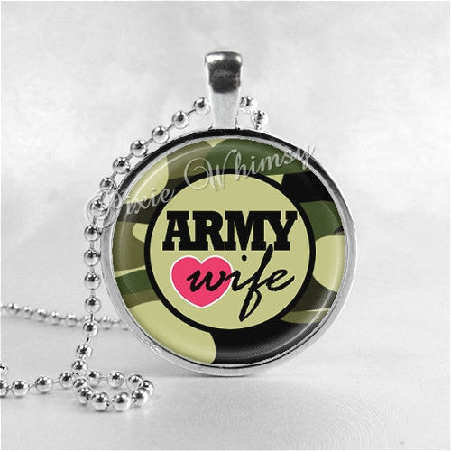 ARMY WIFE Necklace, Glass Photo Art Pendant Necklace Charm, Army Jewelry, Military Jewelry, Camouflage, USA, United States