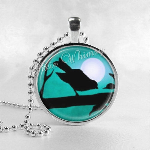 BIRD Necklace, Bird Pendant, Bird Jewelry, Bird On Branch, Bird Charm, Tree Necklace,  Photo Art Glass Necklace Pendant Charm