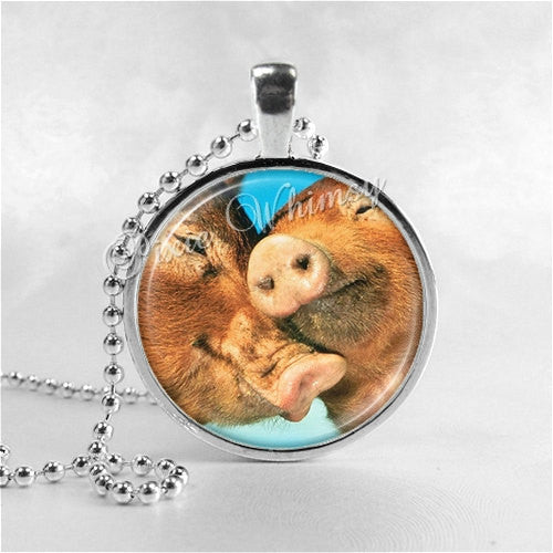 PIG Necklace, Pigs In Love, Pig Jewelry, Pig Pendant, Pig Charm, Glass Photo Art Necklace, Farm Animal