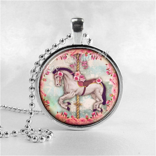CAROUSEL HORSE Necklace, Horse Pendant, Horse Jewelry, Horse Charm, Glass Photo Art Necklace, Merry Go Round Horse, Carnival Horse