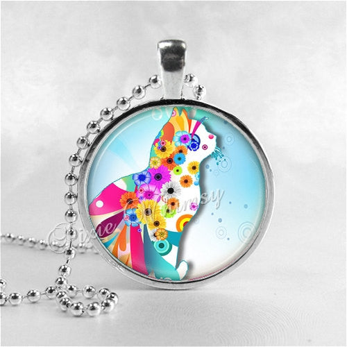 CAT Necklace, Pop Art Cat, Flower Power, Psychedelic Cat, Cat Pendant, Cat Jewelry, Cat Charm, Glass Photo Art Necklace Pendant