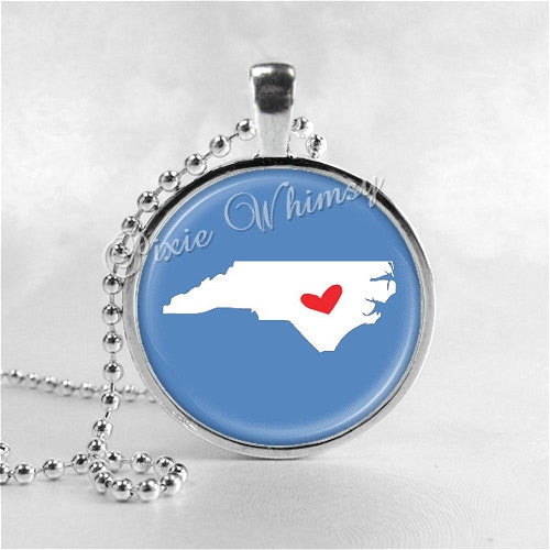 NORTH CAROLINA STATE Necklace, I Love North Carolina, North Carolina Map Jewelry, North Carolina, Glass Photo Art Pendant Necklace