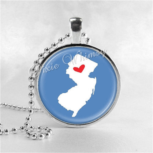 NEW JERSEY STATE Necklace, I Love New Jersey, New Jersey Map Jewelry, New Jersey Pendant, Glass Photo Art Pendant Necklace