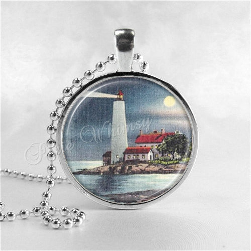 LIGHTHOUSE Necklace, Lighthouse Jewelry, Nautical Jewelry, Vintage Lighthouse At Night, Beacon, Glass Photo Art Pendant Bezel Necklace