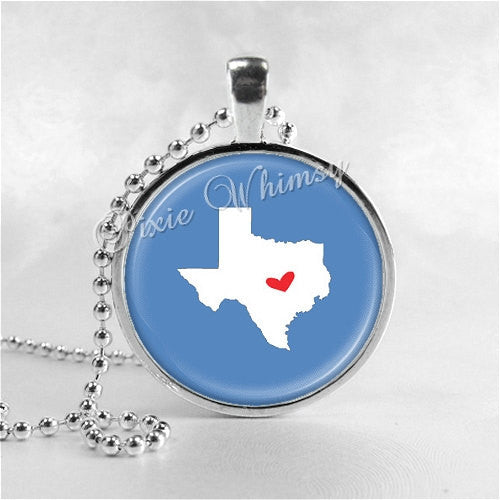TEXAS STATE Necklace, I Love Texas, Texas Map Jewelry, Texas Pendant, Texas Charm, Texas, Glass Photo Art Necklace