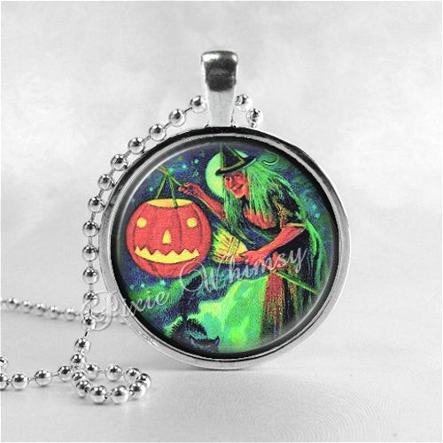 VINTAGE HALLOWEEN Necklace, Jack O Lantern, JOL, Black Cat, Witch, Vintage Witch, Full Moon, Glass Art Necklace, Halloween Jewelry