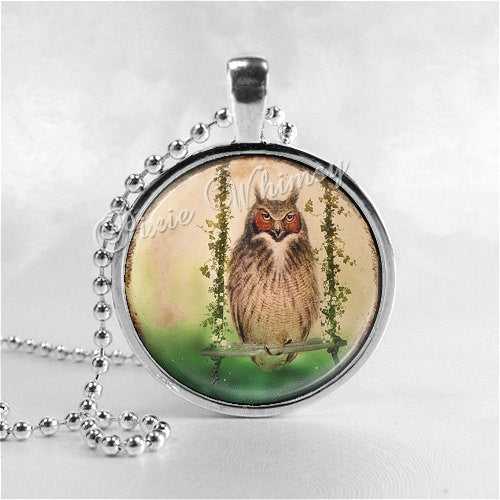 OWL Necklace, Vintage Owl On Swing, Owl Pendant, Owl Jewelry, Owl Charm, Bird Necklace, Photo Art Glass Necklace Pendant Charm