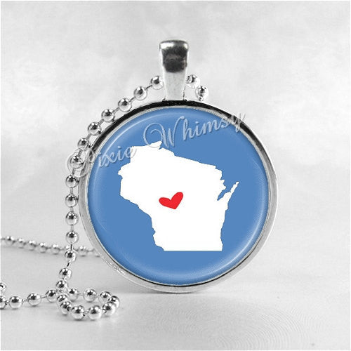 WISCONSIN STATE Necklace, I Love Wisconsin, Wisconsin Map Jewelry, Wisconsin Pendant, Wisconsin Charm, Glass Photo Art Necklace