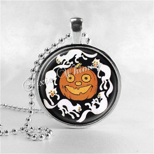 VINTAGE HALLOWEEN Necklace, Vintage Jack O Lantern Necklace, Jack O Lanterns, JOL, Halloween Cat, Glass Art Necklace, Halloween Jewelry