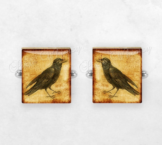RAVEN Scrabble Tile Cufflinks, Raven Cuff Links, Bird Cufflinks, Crow, Black Bird, Bird Cuff Links, Mens Accessories, Gothic, Gifts For Men