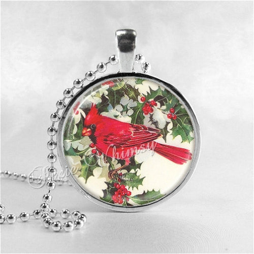 CARDINAL Necklace, Holly, Berries, Christmas Necklace, Cardinal Bird Necklace, Cardinal Jewelry, Red Bird, Glass Photo Art Necklace