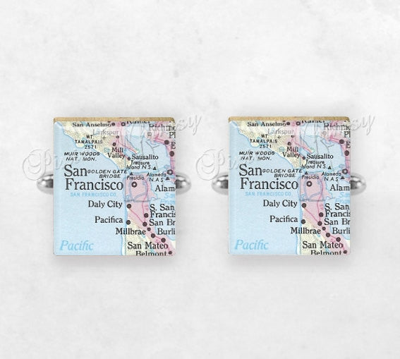 SAN FRANCISCO MAP Cufflinks, Cuff Links, California Map, Scrabble Tile Art San Francisco Bay Area, Mens Accessories, Gifts For Men