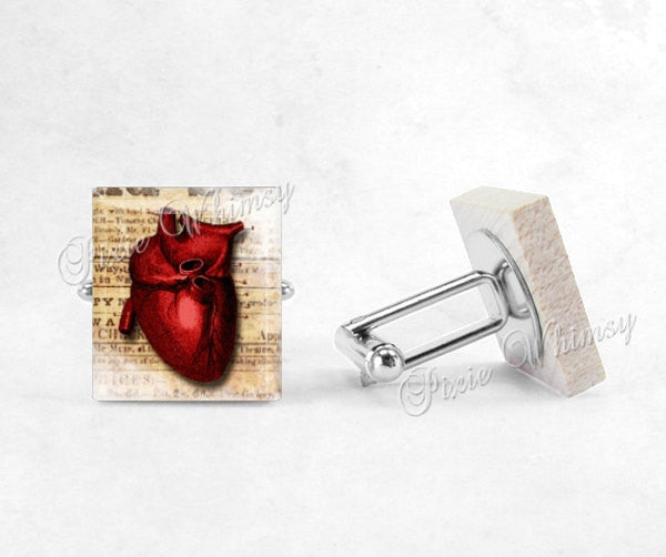 ANATOMICAL HEART Scrabble Cufflinks, Cuff Links,Cufflinks, Doctor, Medical Profession, Gothic, Mens Accessories, Gifts For Men