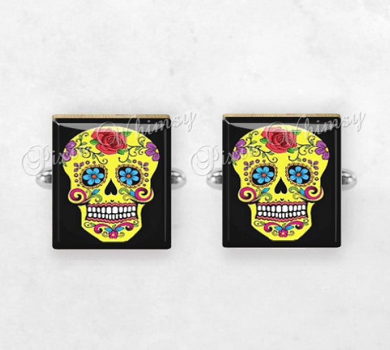 SUGAR SKULL Scrabble Tile Cufflinks, Day Of The Dead, Mexico, Mexican, Skull, Cuff Links, Cufflinks, Mens Accessories, Gifts For Men