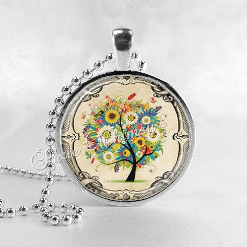 TREE OF LIFE Necklace, Tree Necklace, Flowering Tree, Tree Pendant, Tree Jewelry, Glass Bezel Photo Art Necklace, Tree of Life