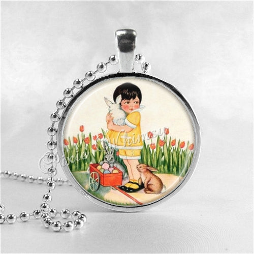 ART DECO Necklace, Girl and Rabbits, Bunny, Tulip Flower Necklace, Art Deco Jewelry, Flower Garden Jewelry, Easter, Glass Photo Art Pendant