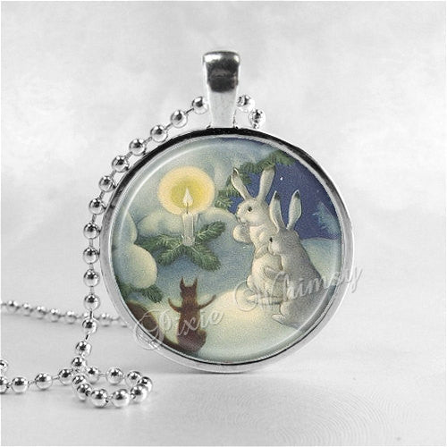 RABBIT Necklace, Winter Scene, Rabbits in Snow, Rabbit Pendant, Rabbit Jewelry, Rabbit Charm, Photo Art Glass Necklace Pendant Charm, Bunny