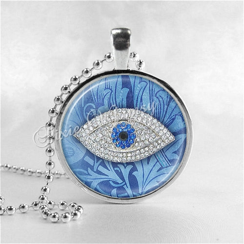 LUCKY EVIL EYE Necklace, Evil Eye Jewelry, Glass Photo Art Necklace Pendant, Lucky Charm, Talisman, Good Fortune, Good Luck, Prosperity