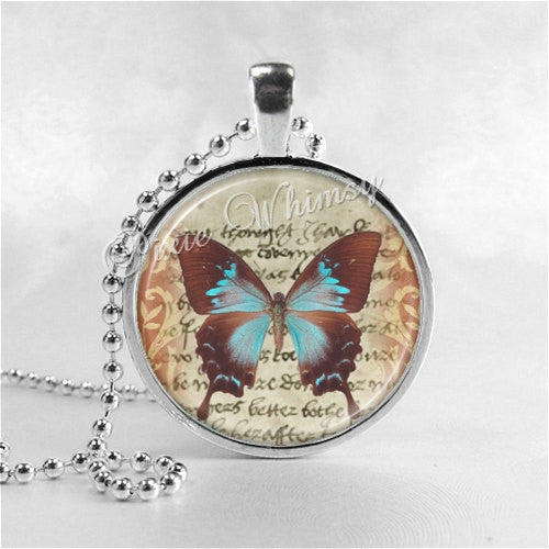 BUTTERFLY Necklace, Swallowtail Butterfly, Butterfly Jewelry, Butterfly Charm, Glass Photo Art Necklace, Insect Jewelry, Moth